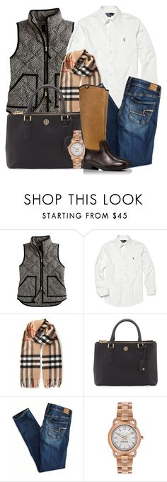 """""""Fall Preppy #4"""" by fashionmecrazy ❤ liked on Polyvore featuring J.Crew, Polo Ralph Lauren, Burberry, Tory Burch, American Eagle Outfitters, Sperry, ToryBurch, preppy, personalstyle and fall2014"""
