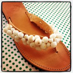 99b2d06884d Handmade leather sandals decorated with white by Ilgattohandmade, €48.00  Etsy, Πλεκτές Παντόφλες,