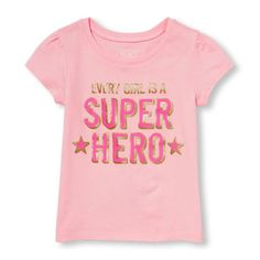 Toddler Girls Short Sleeve 'Every Girl Is A Super Hero' Graphic Tee