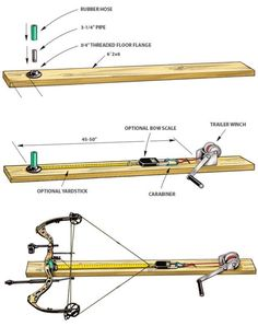 Check cam timing, draw length, and draw weight on you compound bow by building this device in your basement for $40. 1. Get a 6-foot-long 2x6 ($4 at any big-box hardware store). If you have synthetic decking material like Trex (trex.com) lying around, or want to spend more money for it, all the better. It won't warp if left in a damp basement.