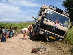Expedition Truck in Malawi ditch
