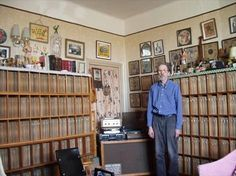 Robert Crumb with his record collection