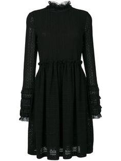 ruffle neck lace dress