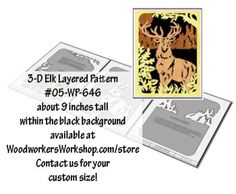 3-D Elk Layered Silhouette Downloadable Scrollsaw Wood Plan PDF #05-WP-646. Did you know you can earn 10% on any sale made in our online store from repinning our projects? Visit http://www.woodworkersworkshop.com/store/index.php?app=ccp0&ns=display&ref=affiliates