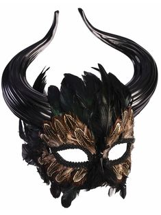 Masks: According to Greek Mythology, the Minotaur was a creature with the head of bull, and the body of a man. This Minotaur Masquerade mask embodies the look of an aggressive bull, while the feathered detailing adds an elegant element. Mens Masquerade Mask, Masquerade Costumes, Masquerade Party Outfit, Mascarade Mask For Men, Halloween Masquerade, Mascara Oni, Maskerade Outfit, Maske Halloween, Costume Halloween