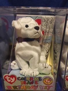 71fb8c4cf8f Ty Color Me Dog Beanie Baby Birthday Kit - Complete in Case With Markers    More