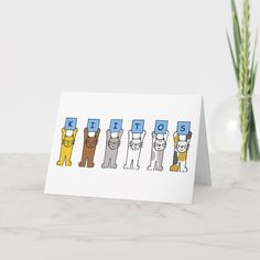 A row of cartoon cats of different colors holding up blue cards which have letters on that spell out 'Kiitos' which means 'Thank you' in Finnish. Size: x Color: Matte. Thank You Card Size, Custom Thank You Cards, Wedding Color Schemes, Wedding Colors, Create Your Own, Create Yourself, Cats And Kittens, Paper Texture, Cartoon Cats