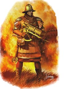 Greek Byzantine (Sifonator) warrior, user of a portable flamethrower device, based upon the notorious Greek Fire of Kallinikos. Illustration by Christos Giannopoulos