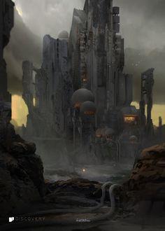 Reactor No 3 by Titus Lunter on ArtStation. Alien Concept Art, Fantasy Concept Art, Fantasy Images, Fantasy City, Sci Fi Fantasy, Dark Fantasy, Futuristic City, Futuristic Architecture, Environment Concept Art