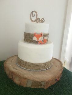 Woodland first birthday cake Fox, wood, one, woodland, cake, chocolate