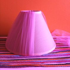 DIY lamp shade. Wrap ribbon/fabric around an old lamp shade for a better look.