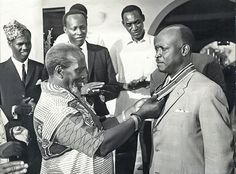 1970; Mzee Jomo Kenyatta garlands High Court Justice Cecil Miller with an award of Elder of The Burning Spear (EBS).