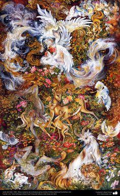 Jardín del Edén. 1990 , Obras maestras de la miniatura persa; Artista Profesor Mahmud Farshchian, Irán   Galería de Arte Islámico y Fotografía
