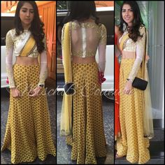 Spotted in MischB Couture, Sharara pants with cropped top Indian Wedding Outfits, Indian Outfits, Indian Clothes, Kurta Designs, Blouse Designs, Saree With Pants, Indian Attire, Indian Wear, Sharara