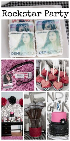 How cool are these rockstar party ideas at this girl birthday with a Demi Lovato theme! See more party ideas at CatchMyParty.com
