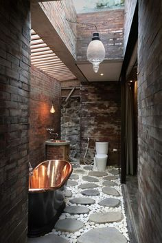 Origami House bathroom copper tub
