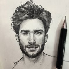 38 Pencil Drawing Of Woman Man Hair Ideas Guy Drawing, Character Drawing, Figure Drawing, Drawing Sketches, Pencil Drawings, Art Drawings, Drawing Hair, Sketching, Portrait Sketches