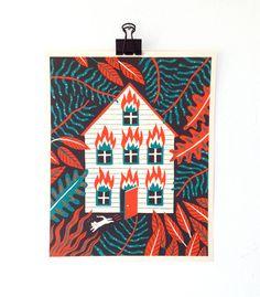 HOUSE FIRE  Screen Print