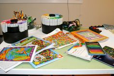 Lynne's Art World: Celebrating August, National Coloring Book Day and WOYWW Copic Markers, Journalling, Art World, Altered Art, Coloring Books, Playing Cards, Card Making, Scrapbook, Celebrities