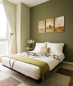 like this room but a different color? light green is painted in the walls & a darker green is painted on the accent wall behind the bed. This could be done with any colors/color family. @emma landrum