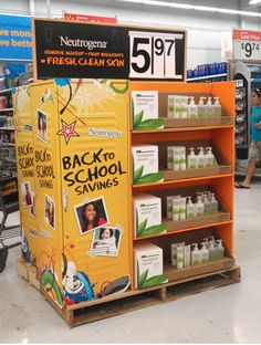 Neutrogena back to school pallet display