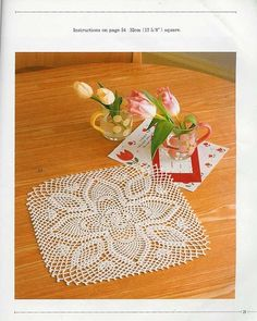 View album on Yandex. Crochet Motif, Crochet Doilies, Pineapple Crochet, Napkins, Album, Simple, Pattern, Tejidos, Squares
