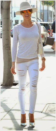 Kristin Cavallari - celebrity street style in all white in Los Angeles March 2015