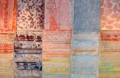 """thin papers, which I print on, draw on, cut up, mix, are layered endlessly on the canvas. No """" found"""" papers are used. I print them all, using yarns, fabric, seeds, pressed plants and other organic material.  Eva Isaksen"""