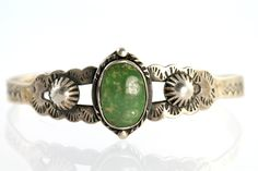 Old Navajo Fred Harvey Sterling Silver Green Natural Turquoise Cuff Bracelet.