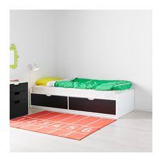 FLAXA Bed frame w/storage+slatted bedbase  - IKEA