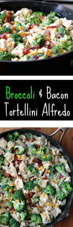 Broccoli & Bacon Tortellini Alfredo - A meal in under 30 minutes - Perfect for a busy family meal. Totally kid friendly, even my crazy picky 7 year old devours this down! (Broccoli Recipes For Toddlers) Broccoli Recipes, Vegetable Recipes, Pasta Recipes, Crockpot Recipes, Real Food Recipes, Dinner Recipes, Cooking Recipes, Healthy Recipes, Tortellini Recipes
