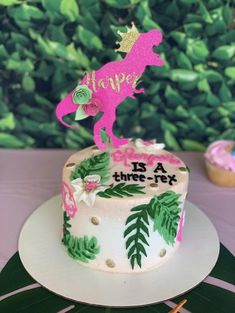 Make your girly dinosaur birthday party rawr with these glittery cake toppers She-Rex design Please note colors and name/age in notes Third Birthday Girl, Dinosaur Birthday Cakes, 3rd Birthday Cakes, Dinosaur Cake, 3rd Birthday Parties, Dinosaur Party, 4th Birthday, Elmo Party, Mickey Party