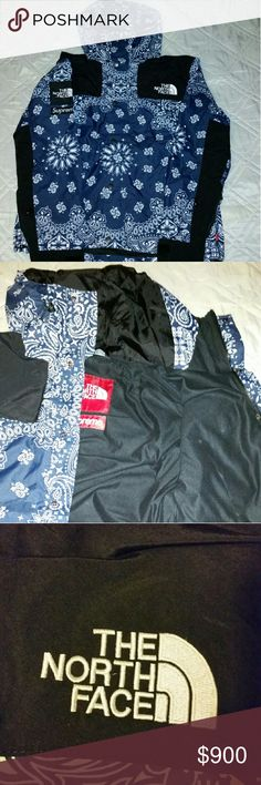 Supreme TNF bandana jacket Worn 1x. Looks extremely legit. More pics on my profile. OFFER UP PLEASE.. unless you wanna buy for $400 Jackets & Coats
