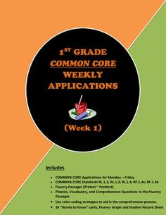 This 1st Grade Weekly COMMON CORE application will aid your students in reading higher leveled text and answering critical thinking questions. Your students will encounter the same text on several occasions. This will help them with fluency and a deeper understanding of the passage.  Includes • Fluency Passages (Pretest ~ Posttest) • Phonics, Vocabulary, and comprehension Questions to the Fluency Passages • Use color-coding strategies to aid in the comprehension process, etc.