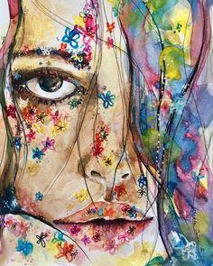"""Freckle Face"" watercolor by Rebekah Steen | GoldfishKissGoods.com"