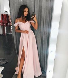 Charming Off the Shoulder Pink Long Prom Dress Satin Formal Evening Gown