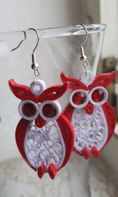 Owl earrings handmade paper earrings q - Quilling Paper Crafts Paper Quilling Earrings, Paper Quilling Patterns, Quilled Paper Art, Quilling Tutorial, Quilling Paper Craft, Quilling Ideas, Owl Paper, Paper Jewelry, Jewelry Crafts
