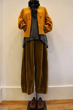Jacket, knit top, textured trousers. Shapes! Colors!