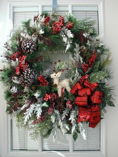 Winter Door Wreath Christmas Decoration White Sisal Deer Pine Cone Rustic Country Wreath Flocked Pine Grapevine Wreath Front Door Wreath by PetalsNPicks on Etsy https://www.etsy.com/listing/219996617/winter-door-wreath-christmas-decoration