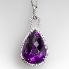 The pendant is centered with one prong set, pear checkerboard cut natural amethyst and accented with sixty-one prong set, round brilliant cut diamonds. The pendant measures in length (including bail) X wide and thick. Diamond Pendant Necklace, Drop Earrings, Jewel Tattoo, Amethyst Jewelry, Jewelry Design, Designer Jewelry, Halo Diamond, Jewelry Rings, Bling