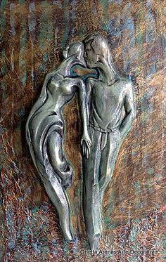 """Let op hoe die pewter """"wegraak"""" in die agtergrond medium Pewter Art, Pewter Metal, Sculpture Art, Sculptures, Aluminum Foil Art, Metal Embossing, Metal Art, Metal Working, Painting"""