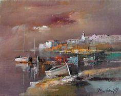 Branko Dimitrijevic, On the coast, Oil on canvas, Landscape Artwork, City Landscape, Contemporary Landscape, Renoir Paintings, Nature Paintings, Watercolor Paintings, Boat Art, Boat Painting, Acrylic Art