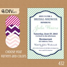PRINTABLE 5x7 Bridal Shower Invitation Engagement Party by DIVart