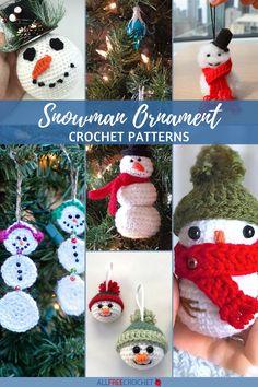 10 Snowman Crochet Ornament Patterns #crochetornaments Crochet Ornament Patterns, Crochet Snowflake Pattern, Crochet Ornaments, Crochet Snowflakes, Crochet Patterns, Crochet Ideas, Crochet Christmas Wreath, Crochet Snowman, Snowman Christmas Ornaments