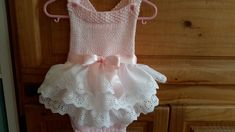 Baby Romper, baby girl hand knit romper with beautiful lace hand made skirt