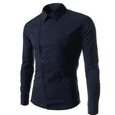 Black Asymmetrical Slim Casual Pure Long Sleeve Collar Shirt Mens Top $16