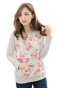 7b50ee38a3 Bearsland Women s Spring Printing Maternity Nursing Top Shirt BA447
