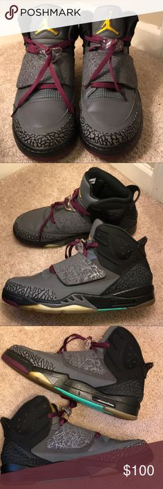 "aa679379841276 Air Jordan Son of Mars ""Bordeaux"" size 12.5 Yellowing at sole due to time"