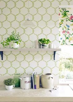 Spring Trellis by Sanderson : Wallpaper Direct Green Kitchen Wallpaper, Dining Room Wallpaper, Trellis Wallpaper, Beautiful Wall, Designer Wallpaper, Soft Furnishings, Decoration, House Colors, Interior And Exterior