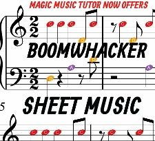 sheet music for simple arrangements for boomwhacker, piano, and guitar